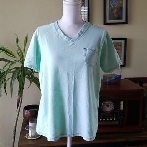 Free Planet Turquoise Short Sleeve V Neck Shirt